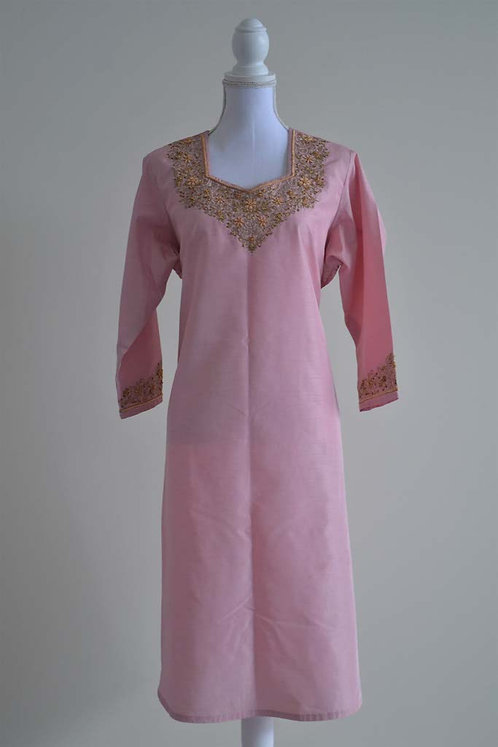 Baby pink kurta with heavy golden embroidery