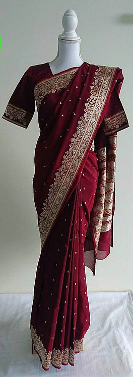 Gorgeous maroon silk sari with gold and silver threadwork