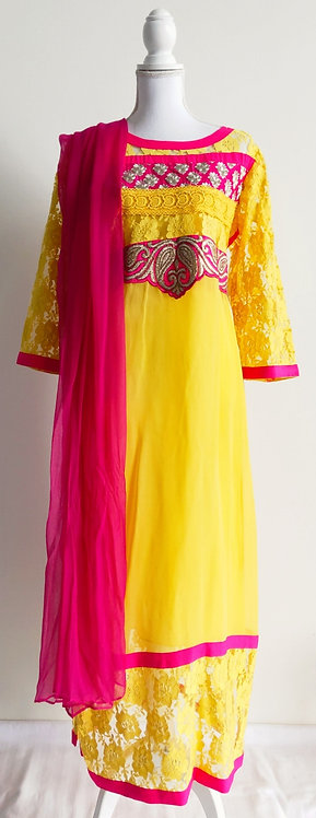 Beautiful canary yellow and pink three piece suit