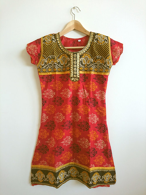 Cute red, yellow and black printed cotton kurti top