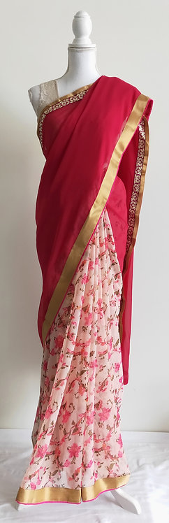 Gorgeous dark pink and floral patterned sari