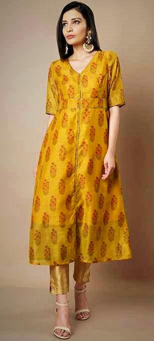 Stunning silk designer mustard botanical print long kurti top