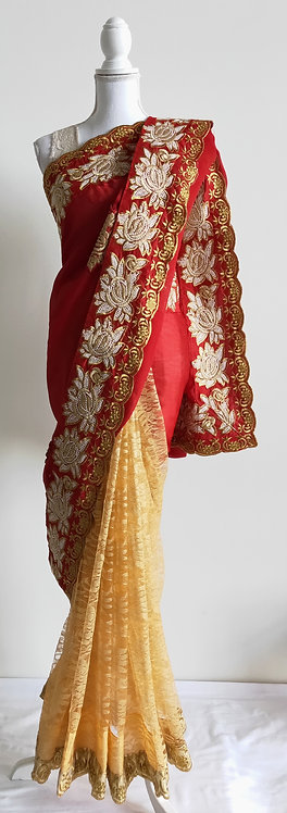 Gorgeous red and gold net sari