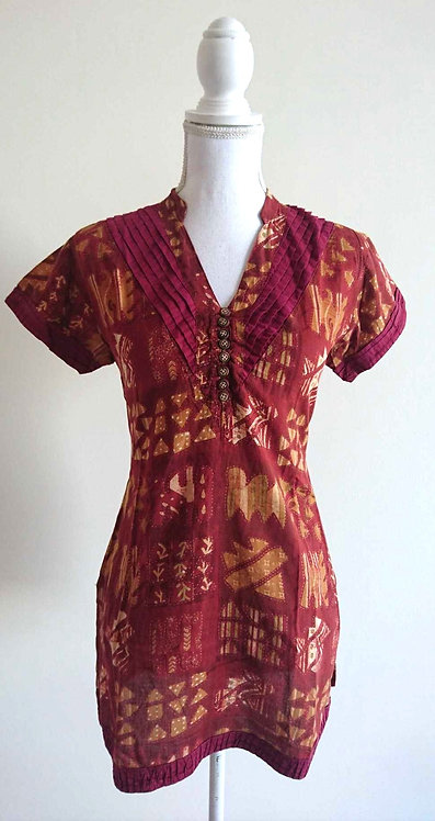 Brown gold patterned cotton kurti top