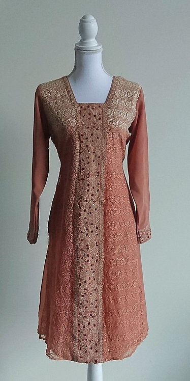 Beautiful rose pink patterned 2 piece suit with fully embroided lace overlay