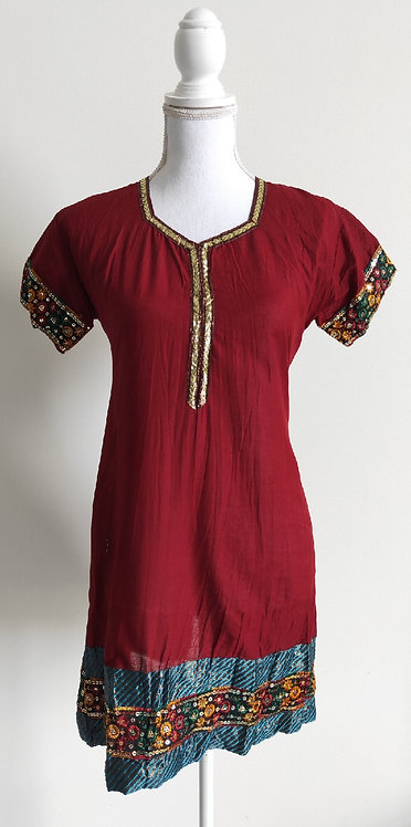 Maroon cotton kurti top with green border