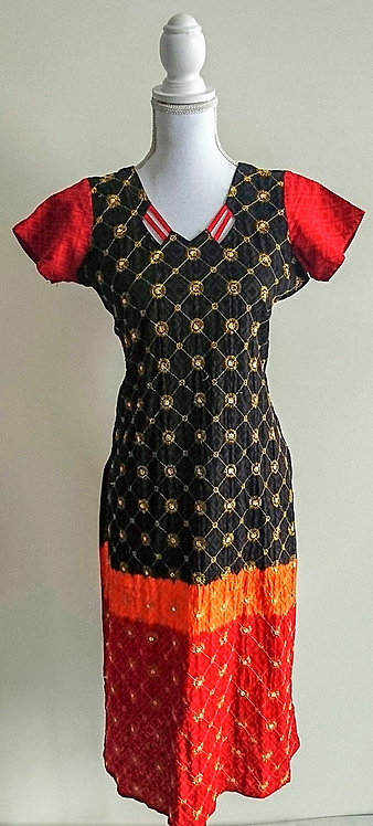 Stylish black and orange two piece suit with gold thread work