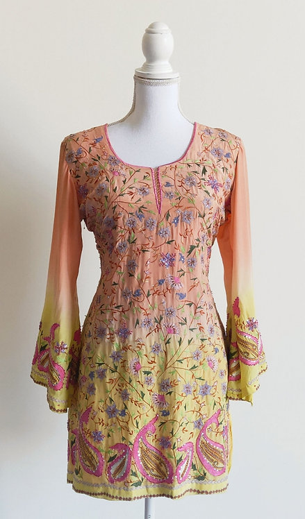 Peach kurti top with multicoloured hand embroidery and sequin work