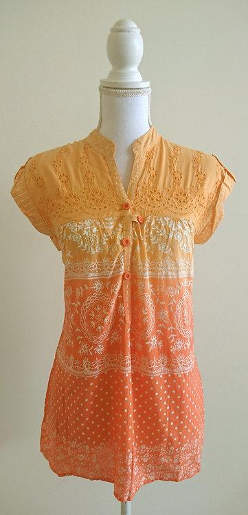 BIBA branded orange and white short patterned kurti top