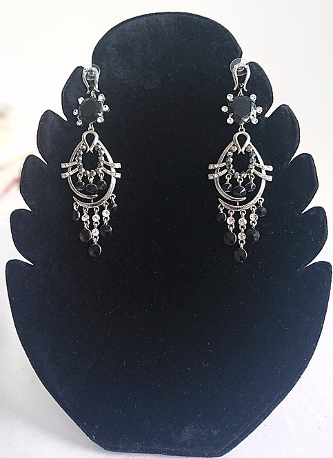 Beautiful black and silver stone earrings