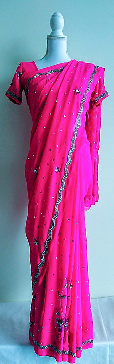 Stunning pink sari with silver sequin and stonework throughout