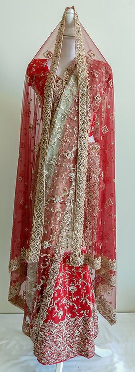 Stunning three piece red and cream bridal lengha