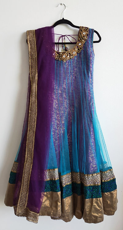 Beautiful purple and blue three piece suit with heavy diamonte design