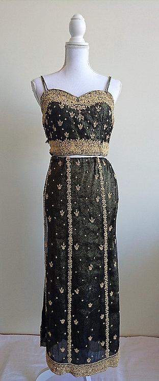 Stylish black and gold net lengha