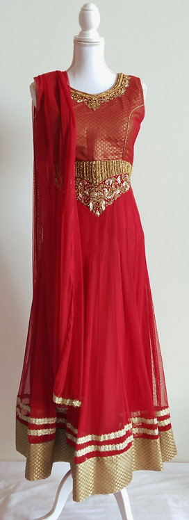 Gorgeous red and gold three piece anarkali suit