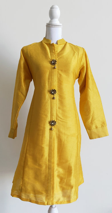 Canary yellow jacket style kurti top with stone buttons