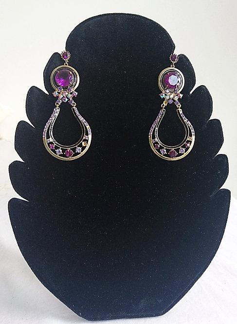 Purple and silver stone long earrings