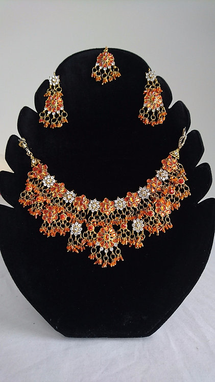 Stunning orange and silver 4 piece artificial jewellery set