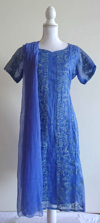 Beautiful 4 piece blue cotton suit with delicate embroidery throughout