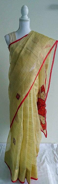 Stylish chiffon cream and red sari