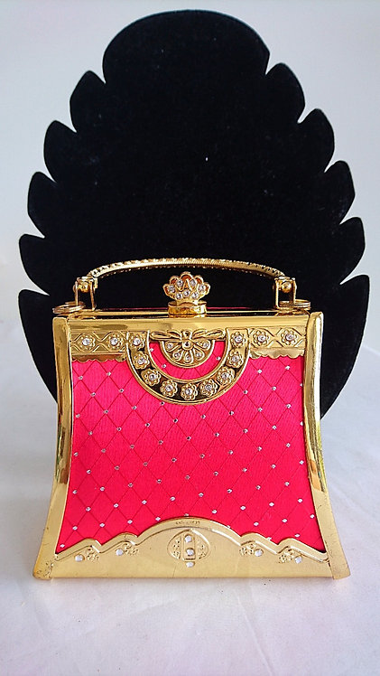 Gorgeous dark pink and gold bridal clutch