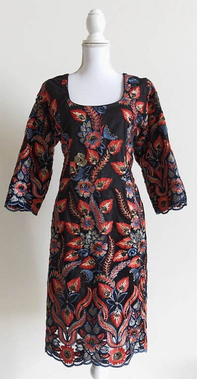 Black multicoloured floral embroided kurti top