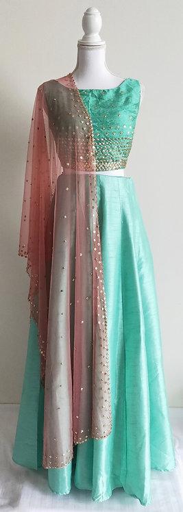Stunning light green three piece lengha with pink net stall