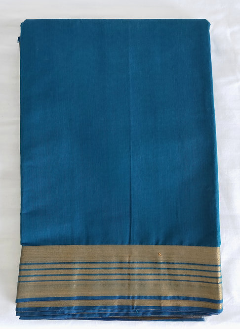 Brand new cotton sari in blue with gold border