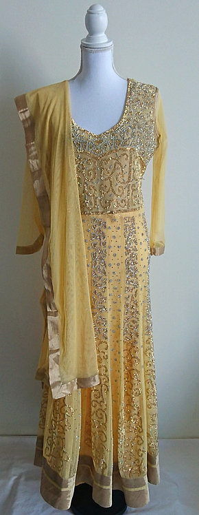 Gorgeous golden full length anarkali suit with diamonte design throughout