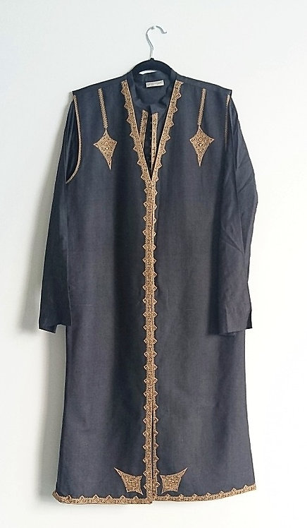 Stunning designer 3 piece pure silk black suit with hand embroidery