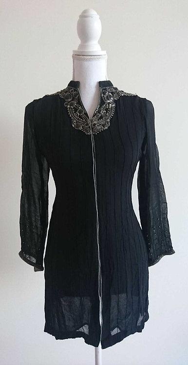Black formal kurti top with silver beaded collar