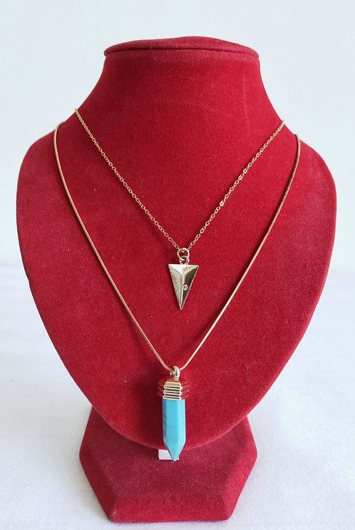 Long double necklace with blue stone pendant