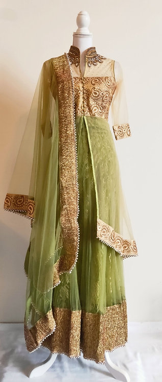 Stunning olive green and gold three piece floor length suit
