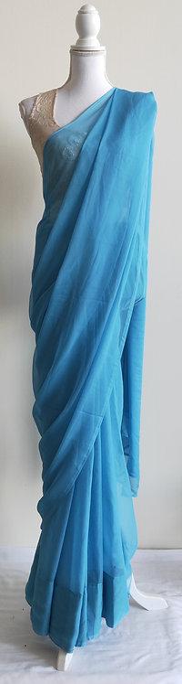 Plain light blue chiffon sari