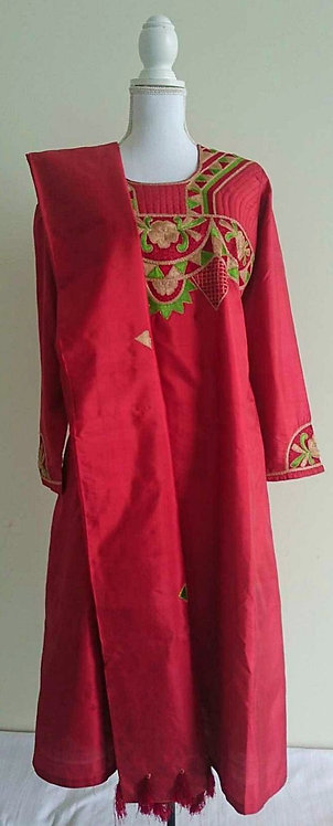 Lovely dark pink silk three piece suit with embroided chest design