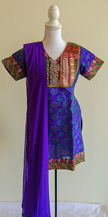 Gorgeous purple three piece suit with maroon velvet chest feature