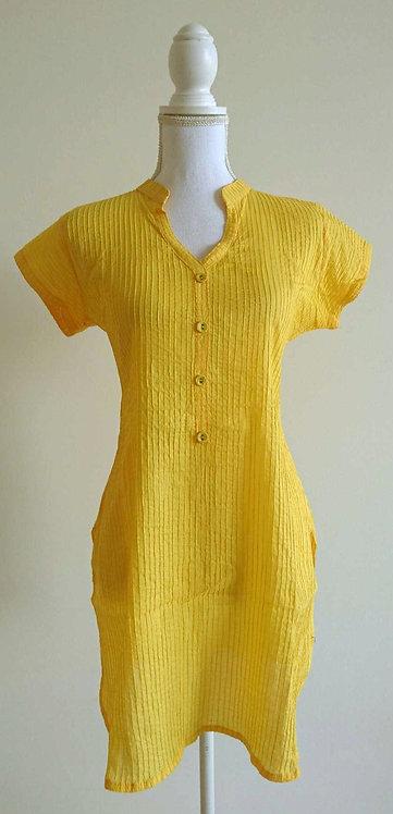 Canary yellow striped cotton kurti top