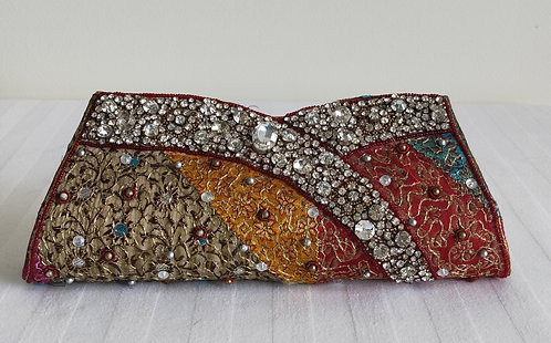 Beautiful multicoloured stonework work purse