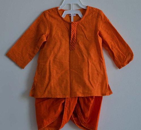 Cotton two piece orange dhoti kurta set