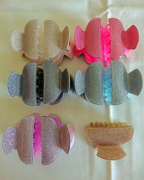 Assorted mini glitter clips (set of 2)