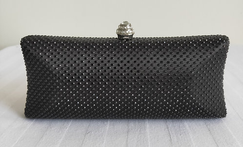 Stylish black clutch with black diamonte deatures
