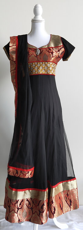 Stylish black and red anarkali full length two piece suit