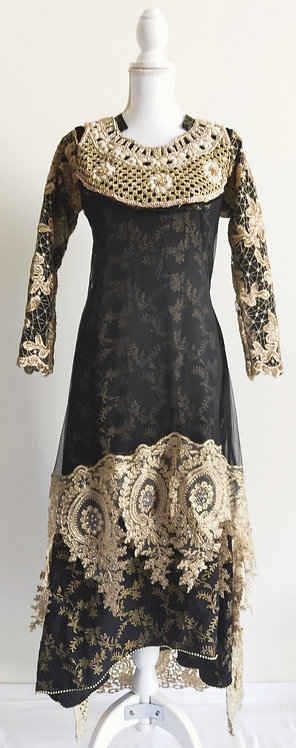 Beautiful black dress with golden sequin overlay and heavy chest design