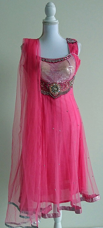 Gorgeous baby pink 3 piece net anarkali suit