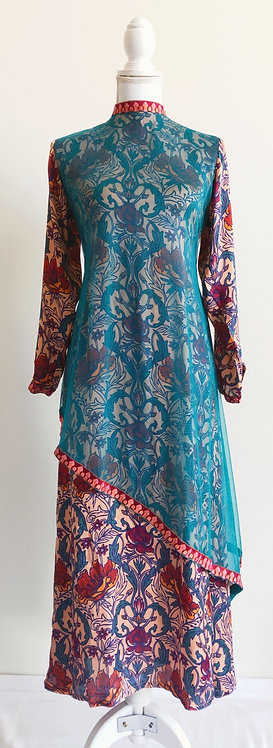 Stylish patterned high neck dress with green net overlay
