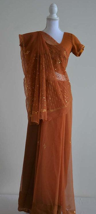 Orange sari with golden/orange sequin embellishments throughout