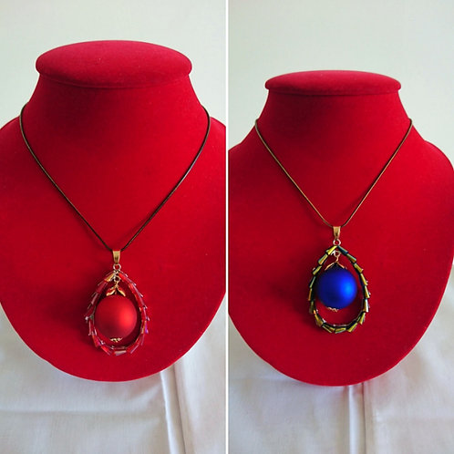 Stunning red or blue pendant necklace