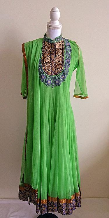 Stylish lime green 3 piece anarkali style suit