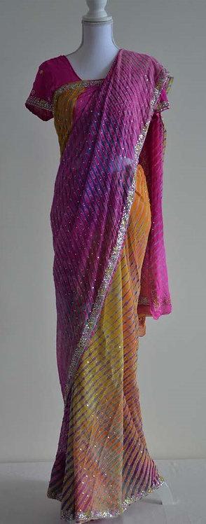 Multicoloured sari with silver sequin borders