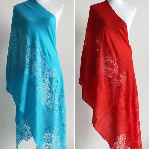 Beautiful lace look silk blend stalls